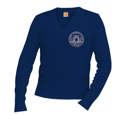 6500 Archway Veritas Navy V-Neck Sweater