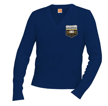 6500 Glendale Prep NAVY Unisex V-Neck Sweater