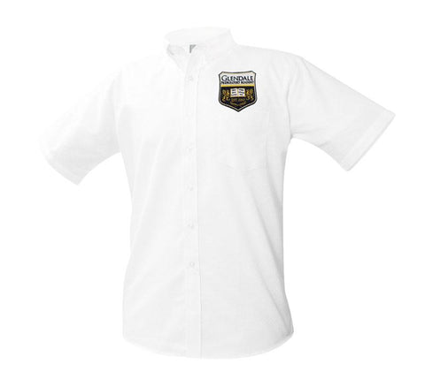 8061 Glendale Prep Boys Short Sleeve Oxford patch above pocket