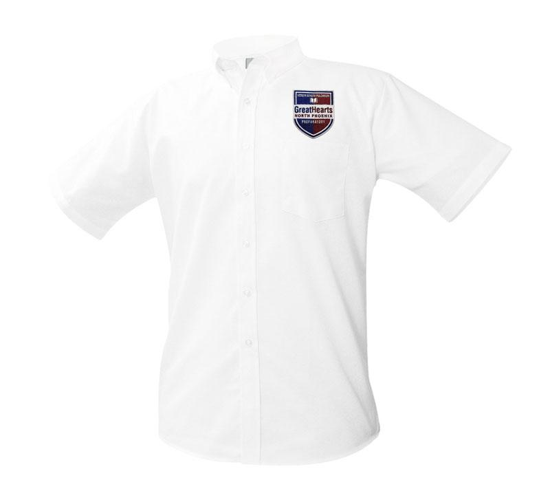 8061 North Phoenix Prep Short Sleeve Boys Oxford 9th-12th Grade patch above pocket