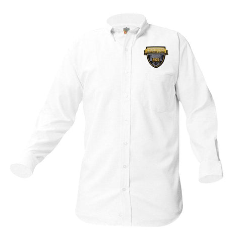 8066 Lincoln Prep Boys Long Sleeve Oxford patch above pocket