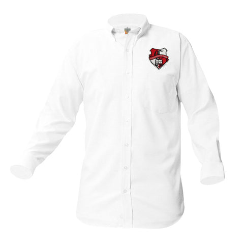 8066 Veritas Prep Boys Long Sleeve Oxford patch on pocket