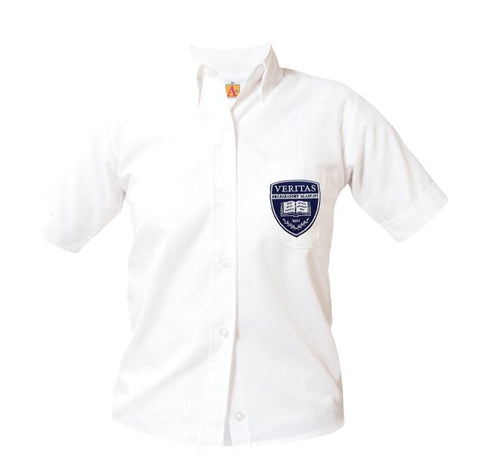 9461 Veritas Prep Girls Short Sleeve Oxford on the pocket