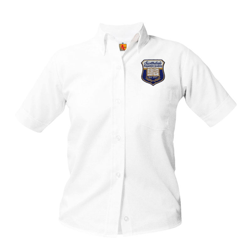 9461 Scottsdale Prep girls short sleeve oxford above the pocket