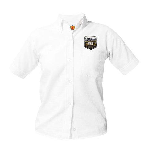 9461 Glendale Prep Girls Short Sleeve Oxford above the pocket