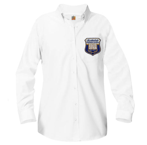 9466 Scottsdale Prep girls long sleeve oxford above the pocket