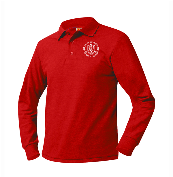 St. Theresa Jersey LS Unisex Red Polo PS-8TH GRADE