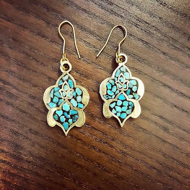 Inlaid Turquoise -Firoozeh Kobe - silver earrings- artsy artworks