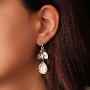 Rose Quartz Drop Floral Handmade Sterling Silver Jewelry Earrings