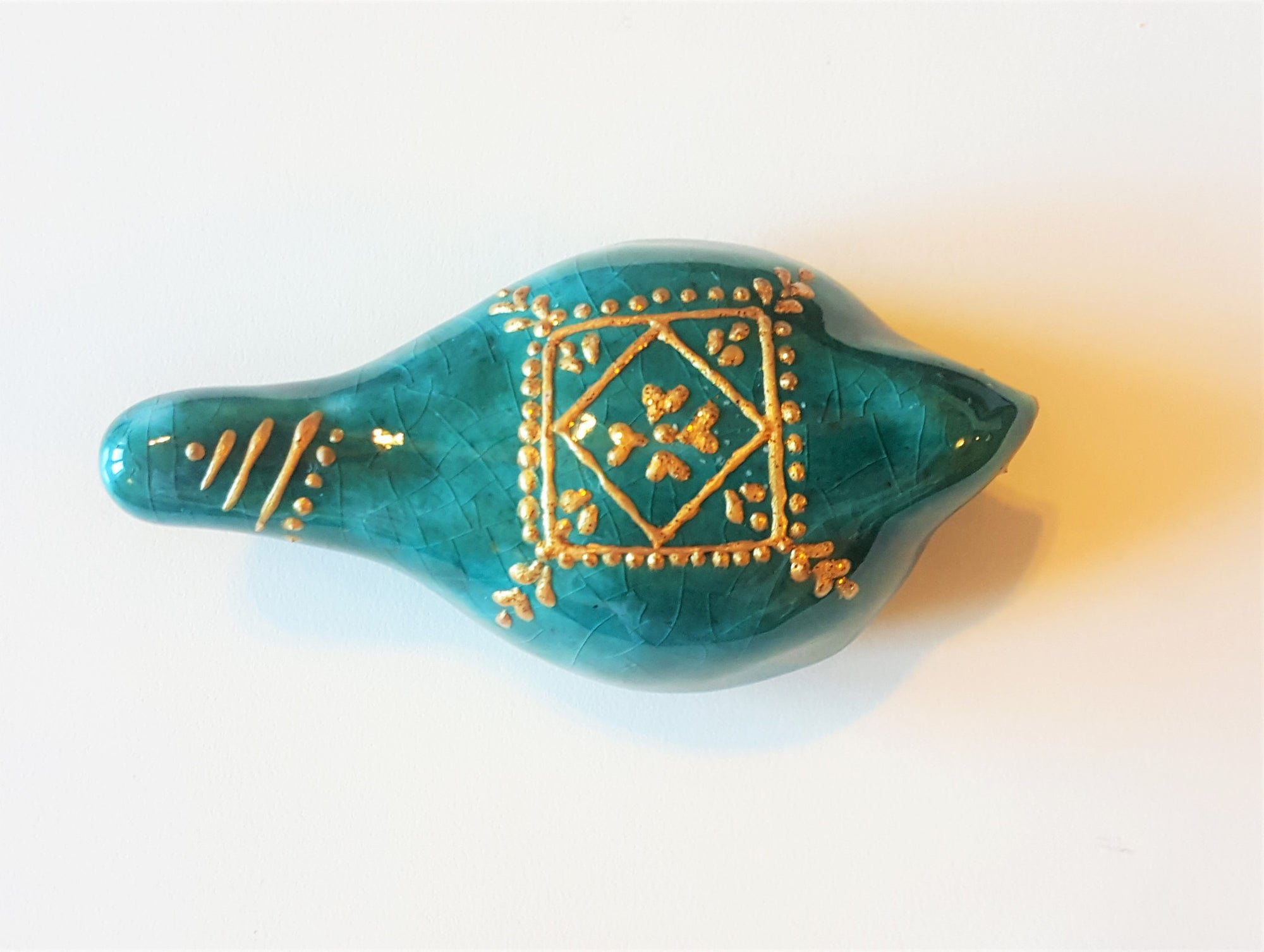 Handmade Turquoise Persian bird sculpture