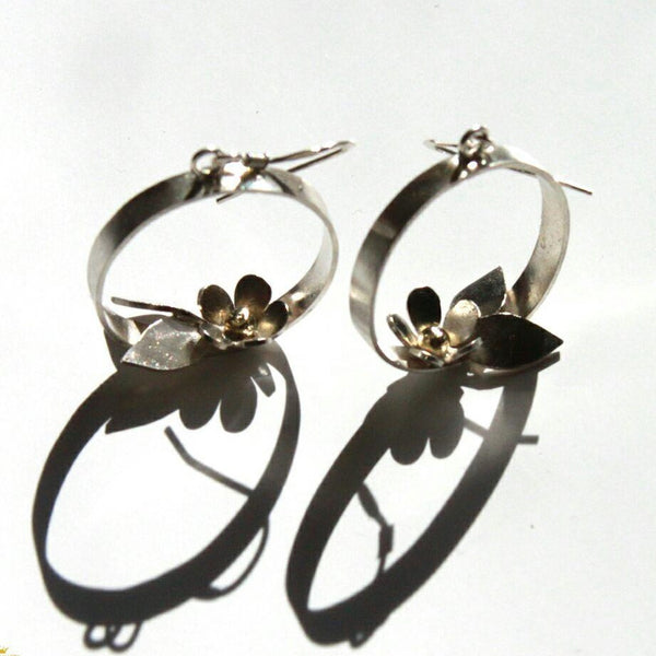 Unique hoop earrings with flowers