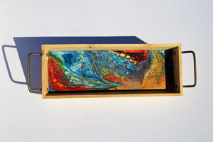Painted Pour Art and Resin Tray