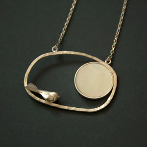 lovely silver bird necklace with mother of pearl