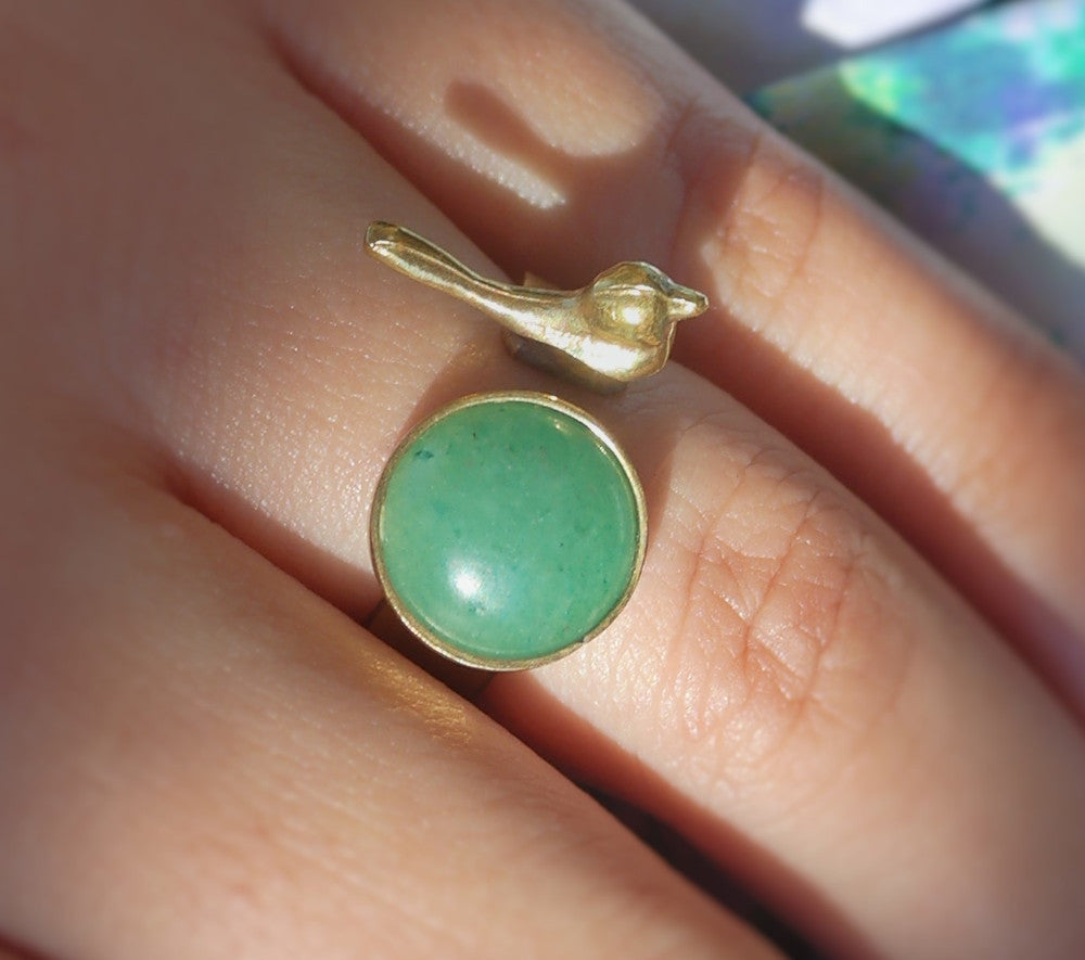 Baby Bird Ring with green stone