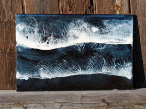 Dark Ocean Painting with Resin