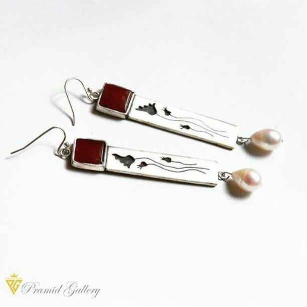 Silver handmade Earrings with Opal Stone and Pearls