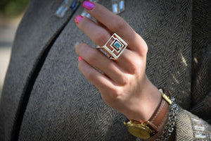 Modern Ring- Persian ring- Artsy Artworks -Inlaid Turquoise (Firoozeh Koob)