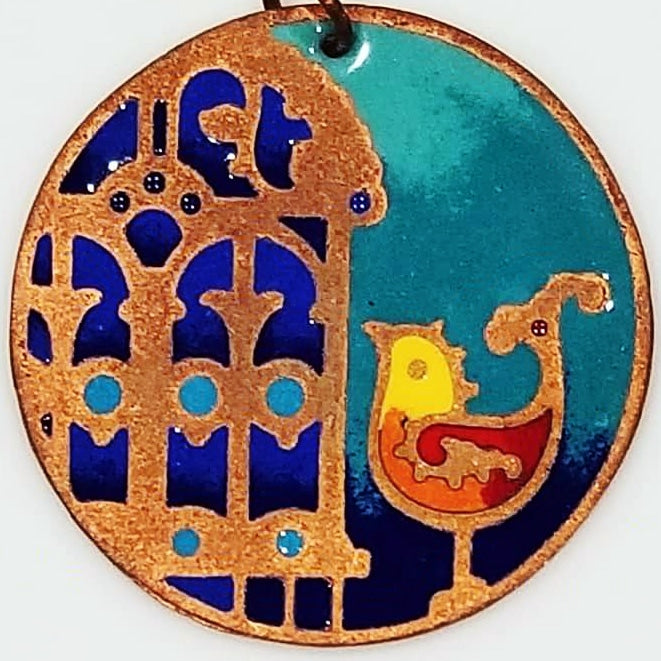 artszy enamel pendant morghe amin on brass