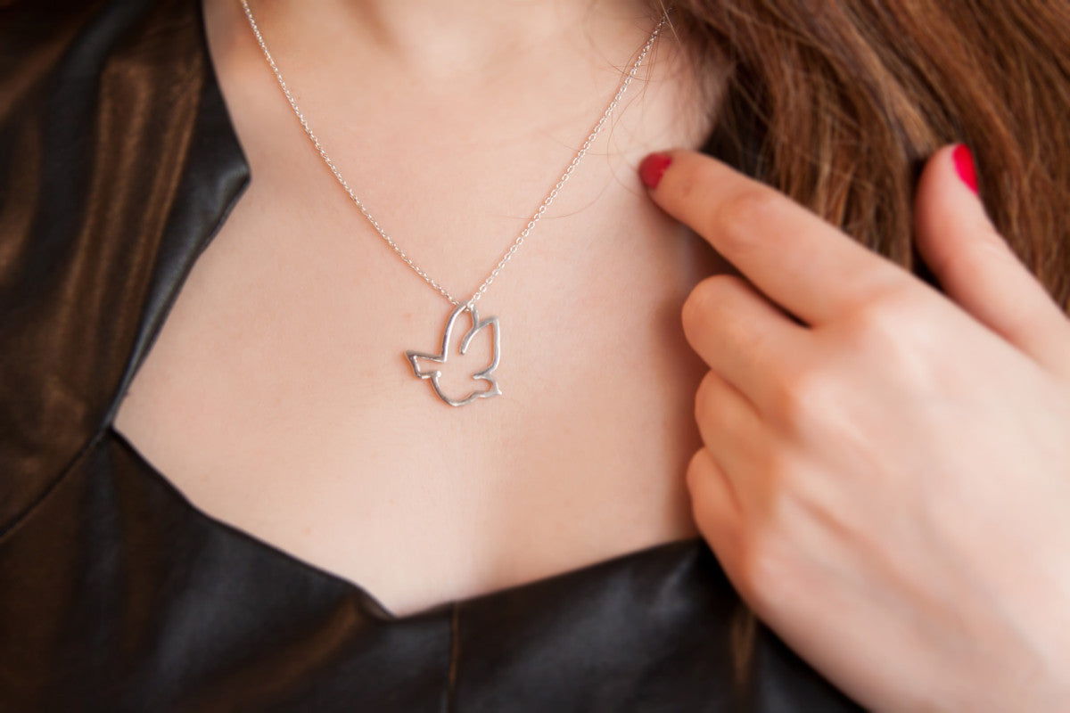 Sterling Silver Bird Pendant Necklace