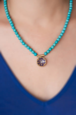 Enamel Pendant with stone necklace