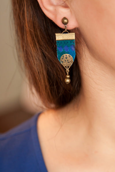 Blue Earring with Middle Eastern Embroidery / needlework - Vintage Earring