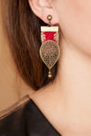 Handmade Red Earring with Middle Eastern Embroidery / needlework- Vintage Earring
