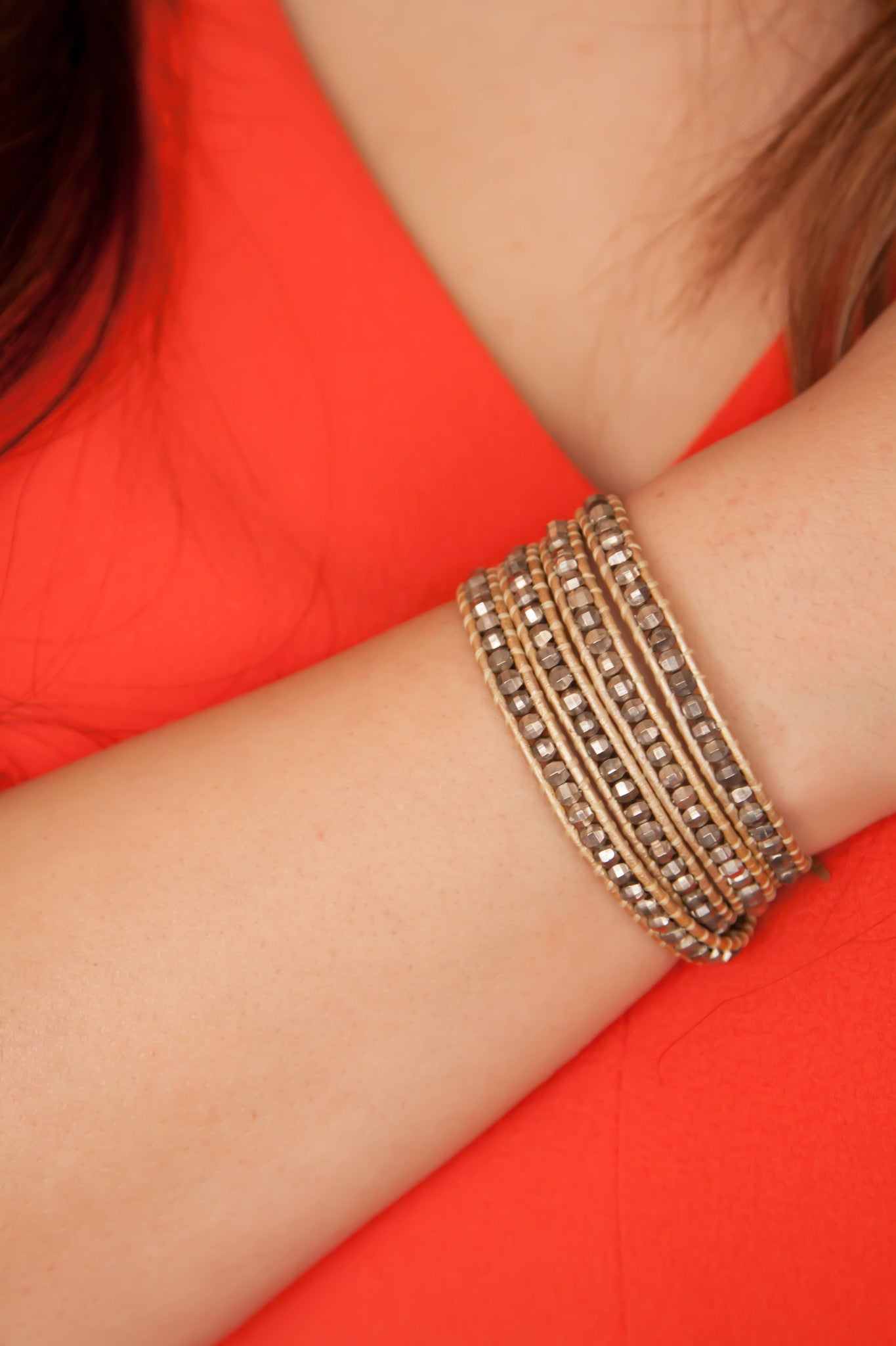 Golden Beaded Wrap Bracelet