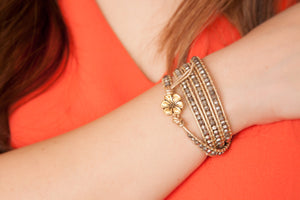 Golden Beaded Wrap Bracelet - Artsy Artworks