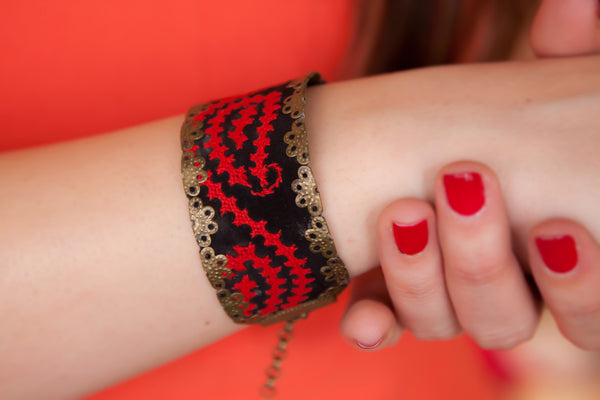 Handmade Bracelet with Middle Eastern Embroidery / needlework
