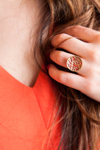Orange Enamel Bird Ring