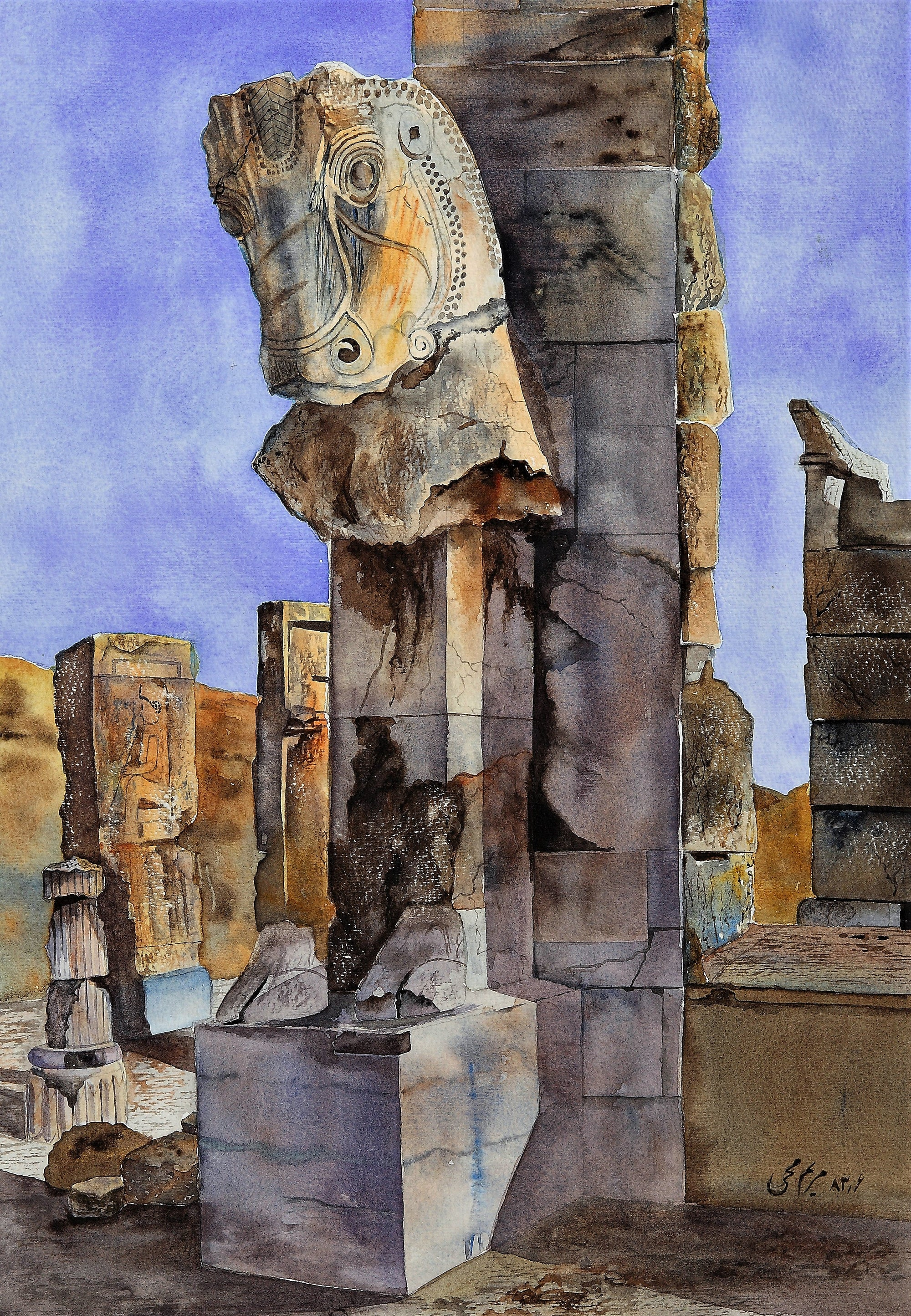 Takht-e-Jamshid Watercolor Painting