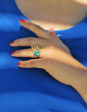 Abstract Floral Fashion Ring