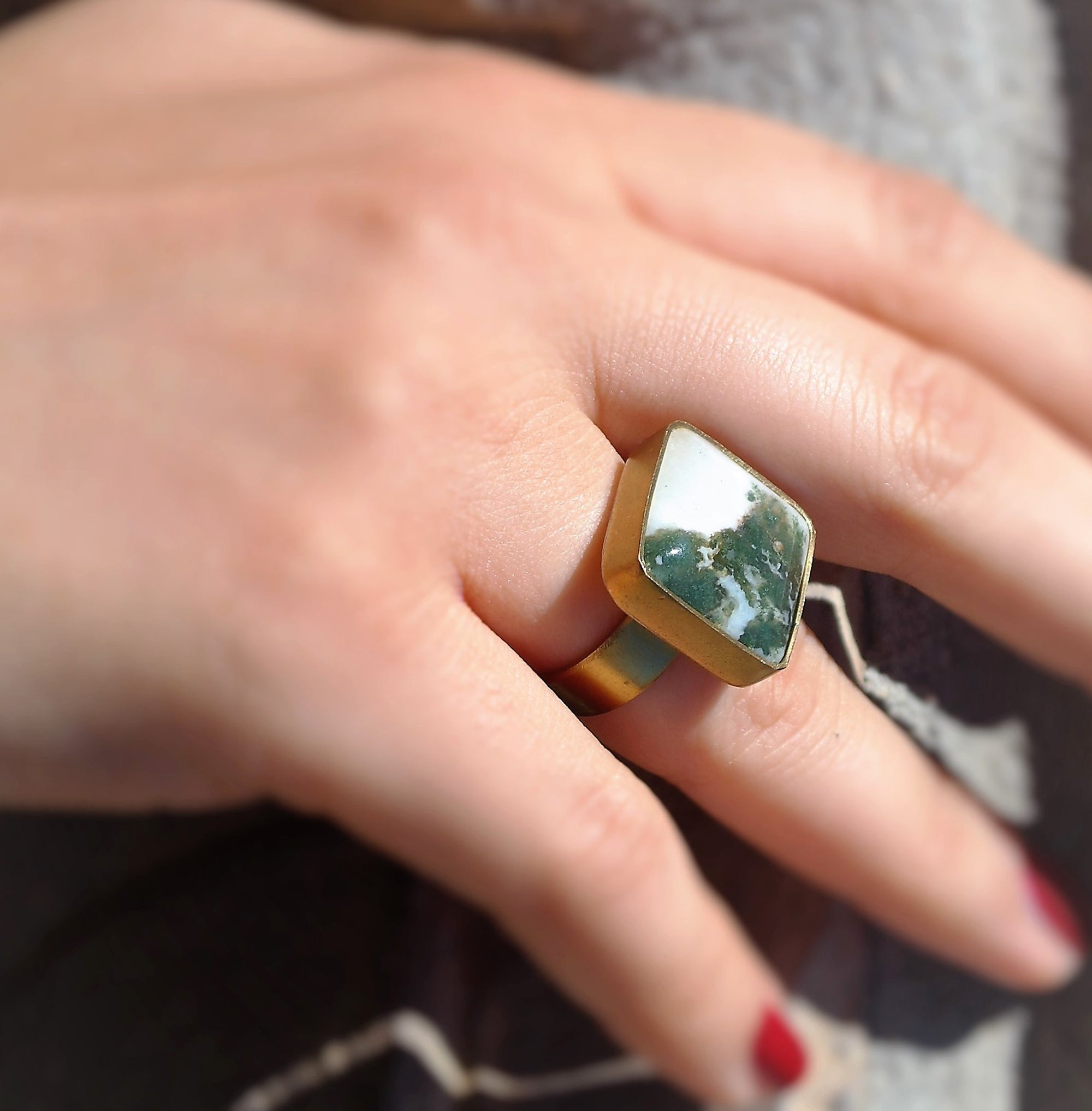 square bezel ring with stone