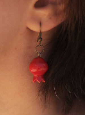 Ceramic pomegranate hand made earrings