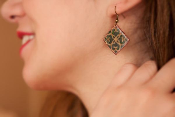 Enamel Earring on Copper - artsy artworks