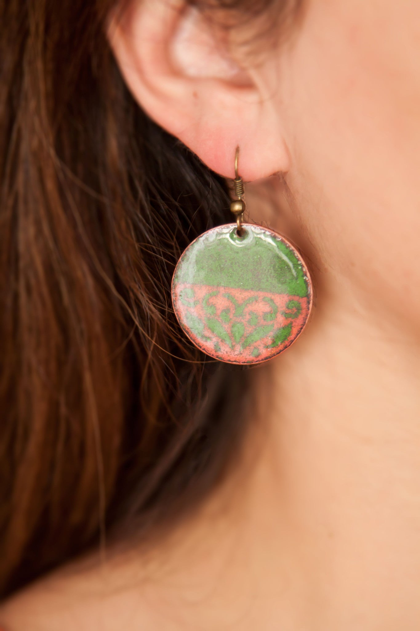 Green Enamel Earring - Artsy Artworks