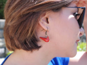 Ceramic Red Bird Handmade Earring - Bird Charm