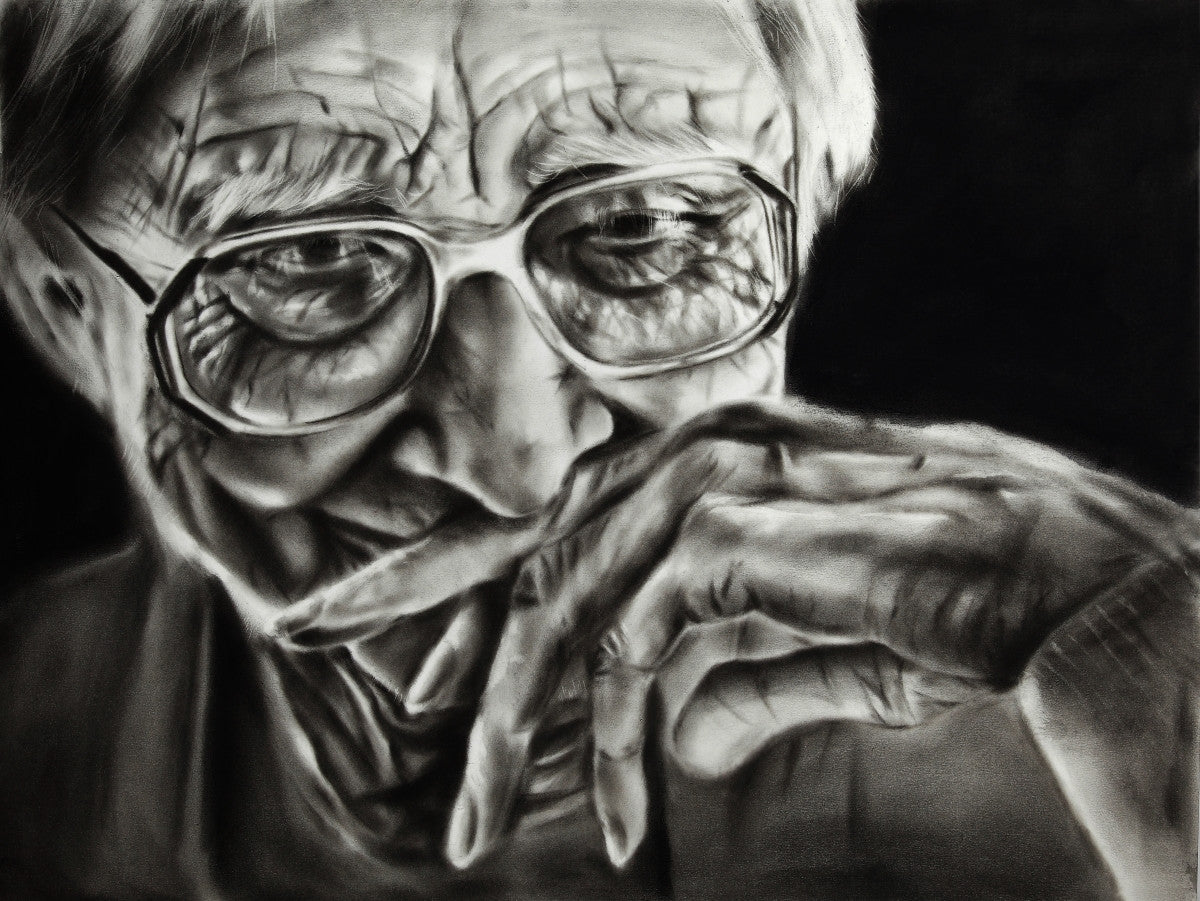 Maryam Mohi's charcoal painting