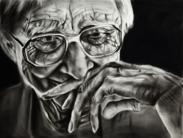 Senility - Original Charcoal Painting