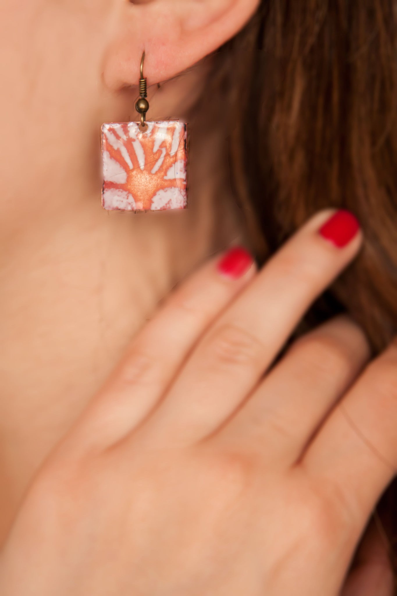 Enamel Orange Tree Earring