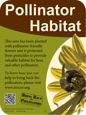 Pollinator Habitat sign for your pollinator garden, available from Xerces Society