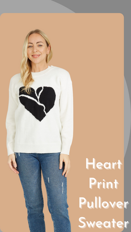 Heart  Print Pullover Sweater