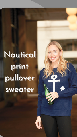 Nautical print pullover sweater