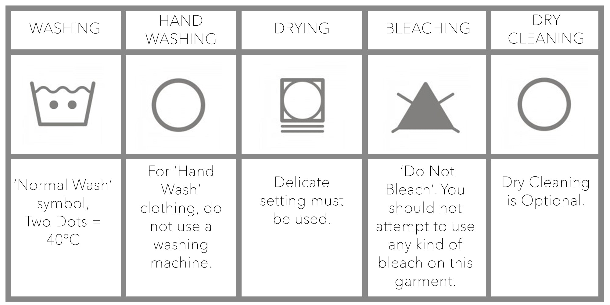 garment care online chart, how to take care of your apparel, apparel washing guide, wash instructions contains everything from washing to drying to help preserve your baciano sweater/top, each guide should be follow to maximize garment life,