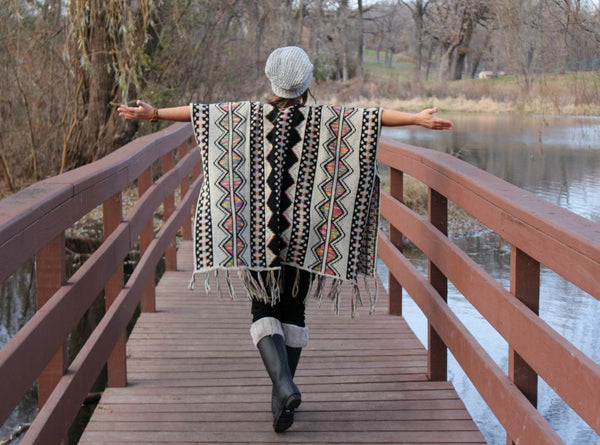 aztec design open poncho