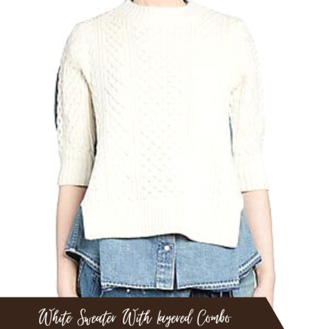 white sweater top with denim pants
