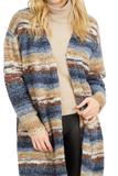 Load image into Gallery viewer, Open Front Long Sleeve Striped Cardigan