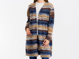 Load image into Gallery viewer, Open Front Long Sleeve Striped Cardigan Women