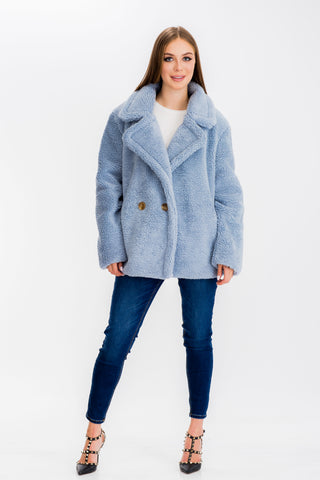 Cai Faux Fur Coat Blue - Baciano