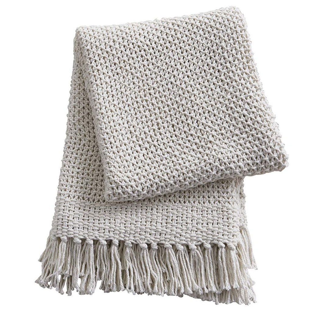 Open Weave Knit Throw, Natural